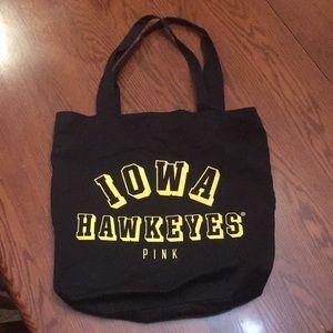 PINK-Iowa Hawkeye Canvas Bag- Black/Gold